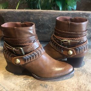 Brown Booties with Bling! Size 8